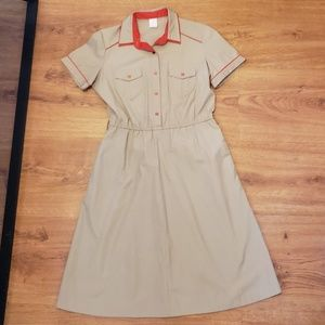 Vintage red and khaki dress 1960s